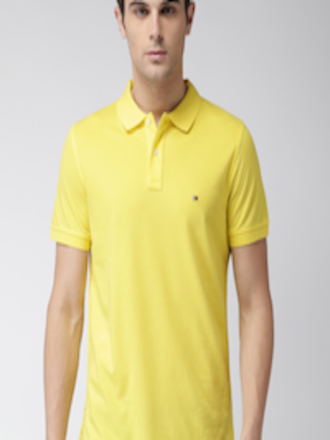 Buy Tommy Hilfiger Men Yellow Self Design Polo Collar T ...