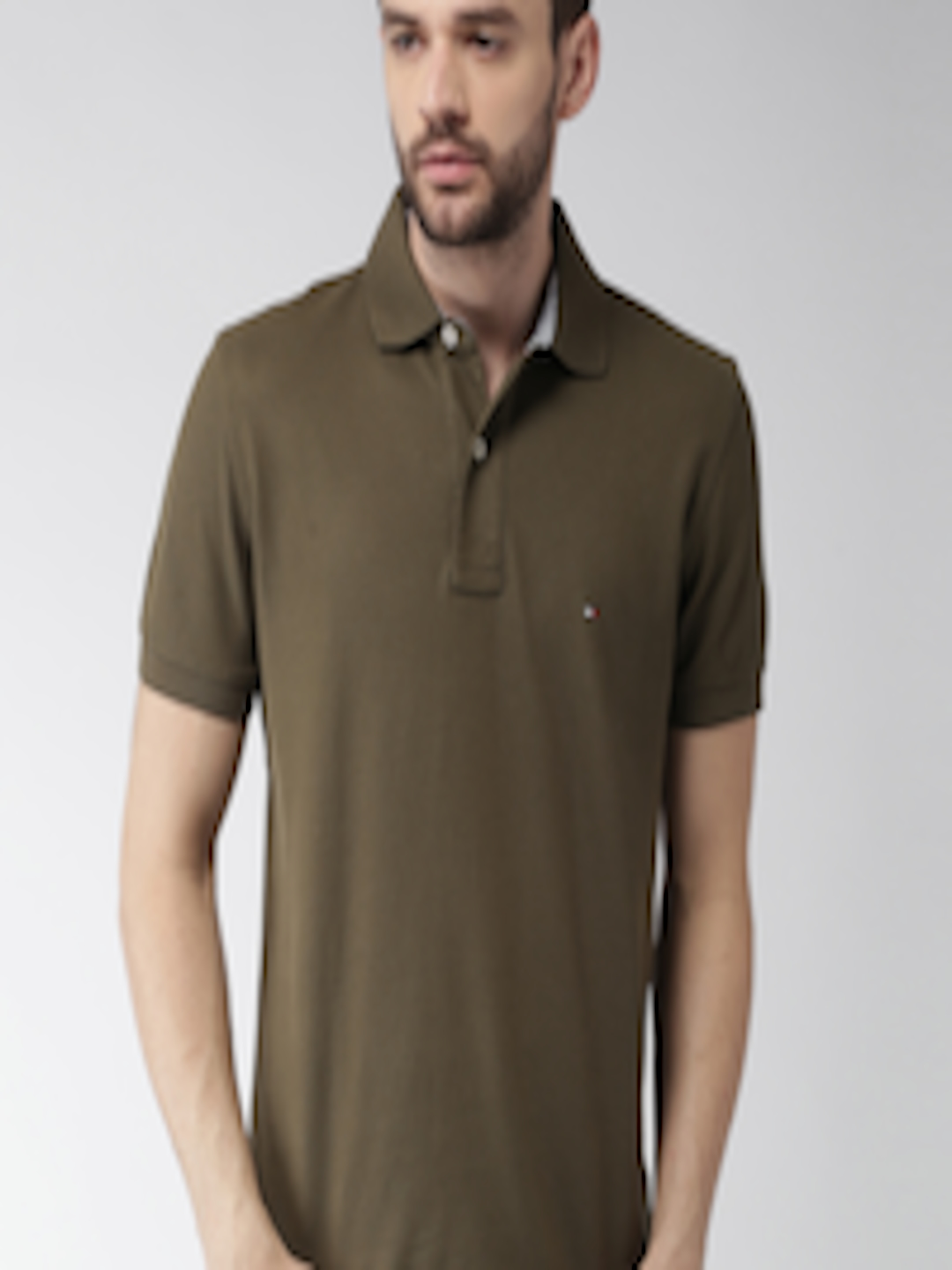 Buy Tommy Hilfiger Men Olive Green Solid Polo Collar T ...