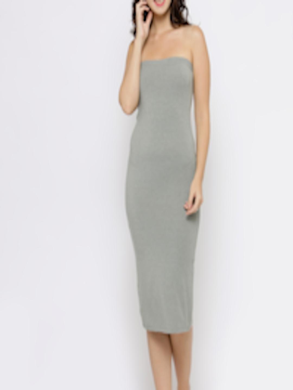 3b412215e5 Buy FOREVER 21 Women Olive Green Solid Tube Bodycon Midi Dress - Dresses  for Women 2098587