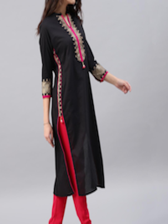 Buy Vishudh Women Black Yoke Design A Line Kurta Kurtas