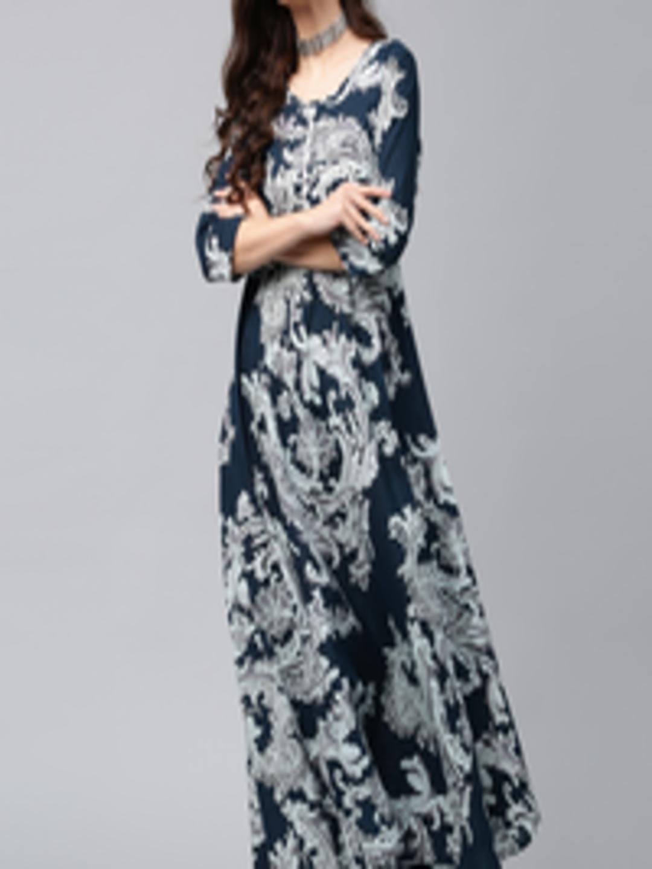 b4b0dd2ee28 Buy AKS Women Navy   Off White Lightweight Printed Maxi Dress - Dresses for  Women 2111457