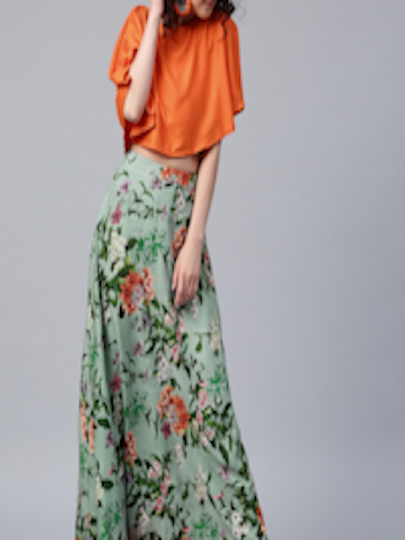 f17c4d16240 Floral Long Skirts With Crop Top | Saddha