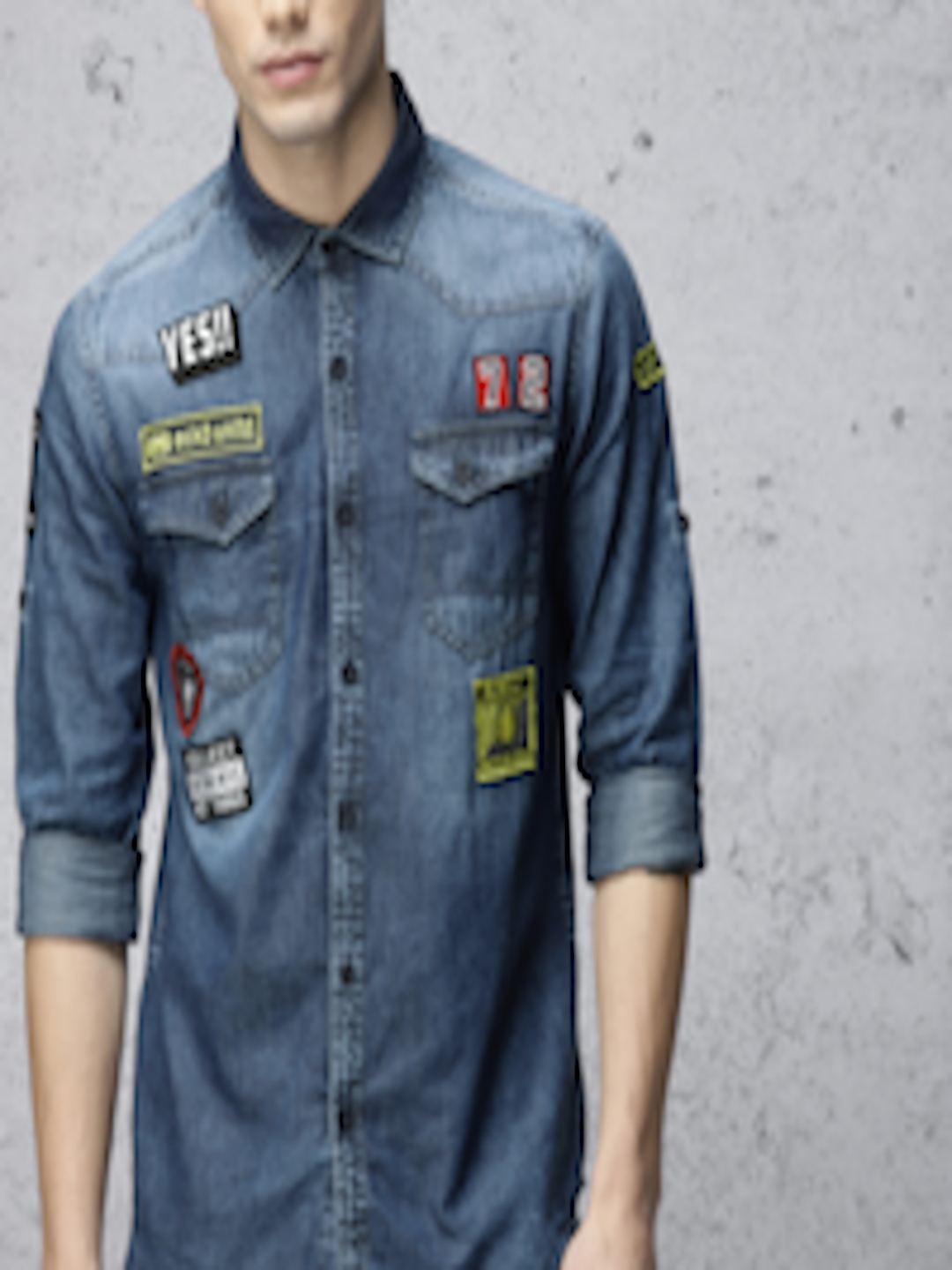 c2f5b0119c Buy Ecko Unltd Men Blue Slim Fit Washed Denim Shirt - Shirts for Men  2124540