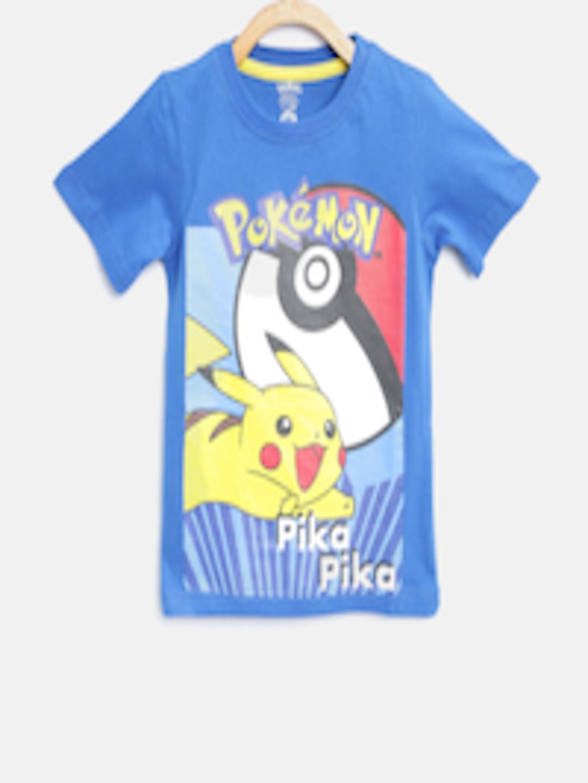 558df6c8 Buy YK Boys Blue & Yellow Pikachu Print T Shirt - Tshirts for Boys 2128310  | Myntra