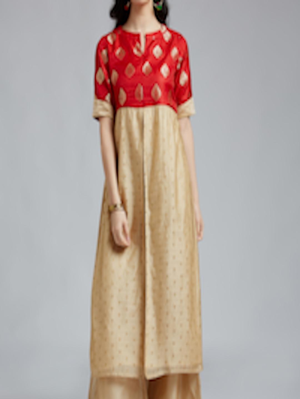Buy Jaipur Kurti Women Red Amp Beige Self Design Kurta With