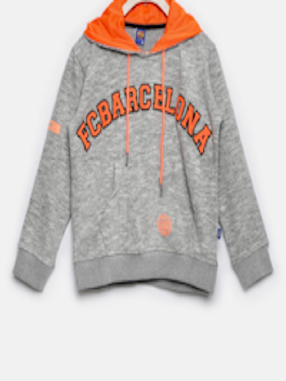 f02605c99 Buy FC Barcelona Boys Grey Melange Self Design Hooded Sweatshirt ...