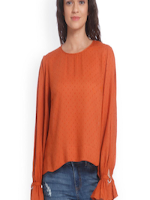 4cb4f39b390cef Buy ONLY Women Rust Orange Self Design Top - Tops for Women 2169214 ...