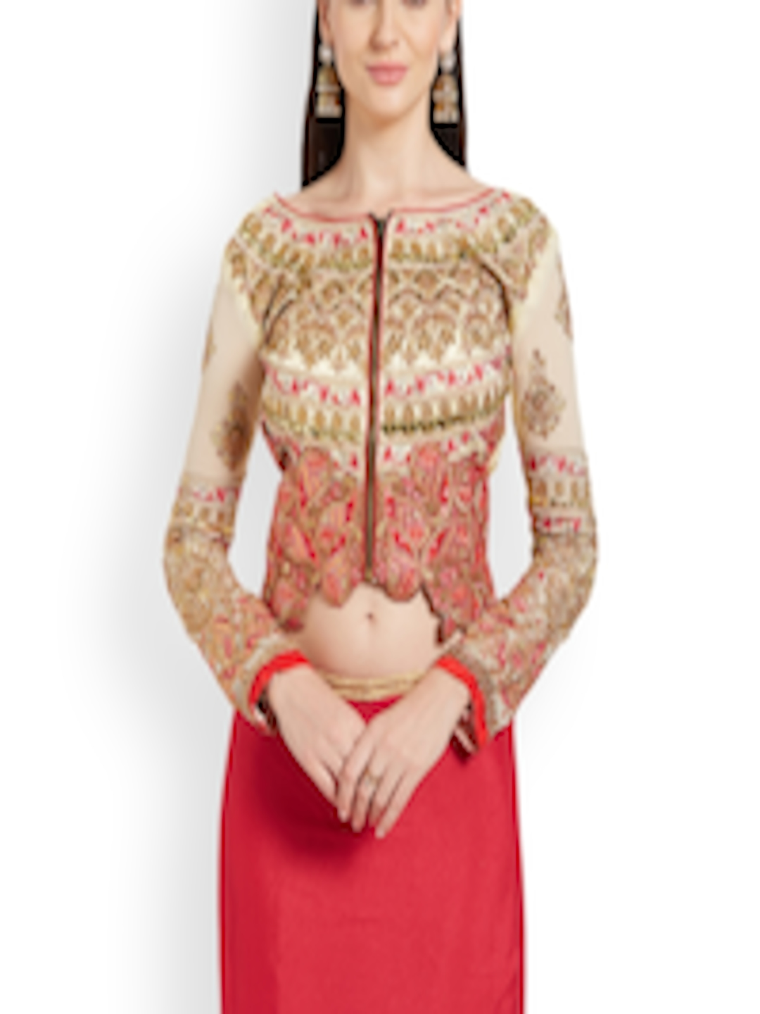6e09220dce Buy RIYA Cream Coloured Embroidered Art Silk & Faux Georgette Blouse - Saree  Blouse for Women 2178212   Myntra