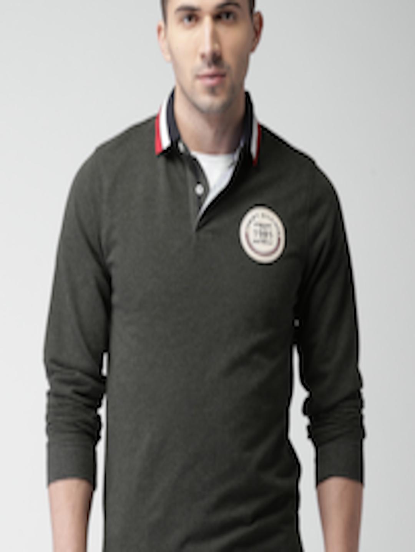 Buy Tommy Hilfiger Men Charcoal Grey Self Design Polo T ...
