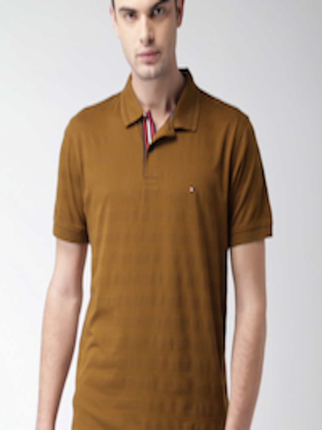 Buy Tommy Hilfiger Men Brown Striped Polo Collar T Shirt ...