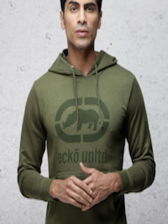 Men Olive Green Slim Fit Printed Hooded Sweatshirt by Ecko Unltd