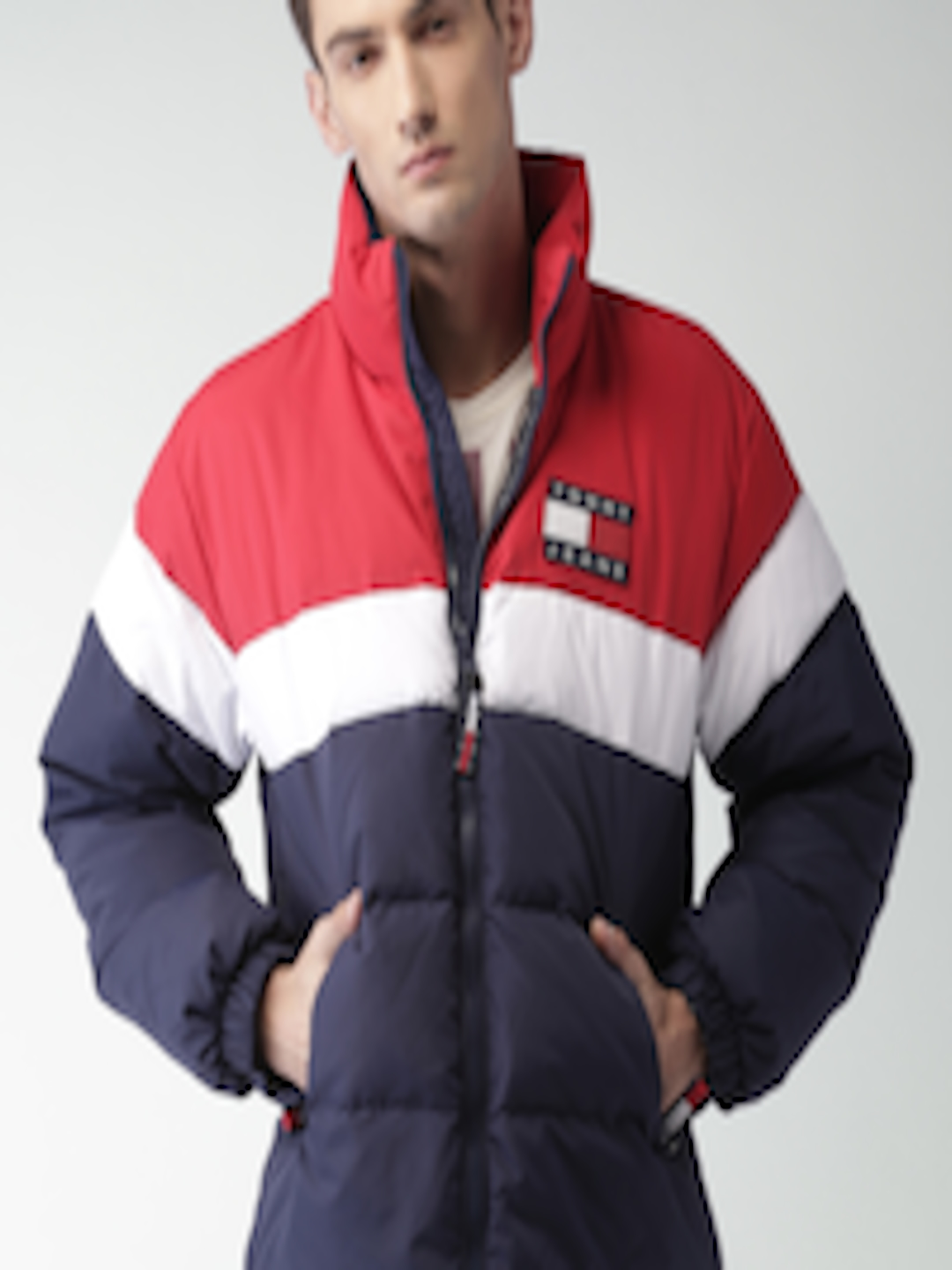 Buy Tommy Hilfiger Men Navy Amp Red Colourblocked Puffer