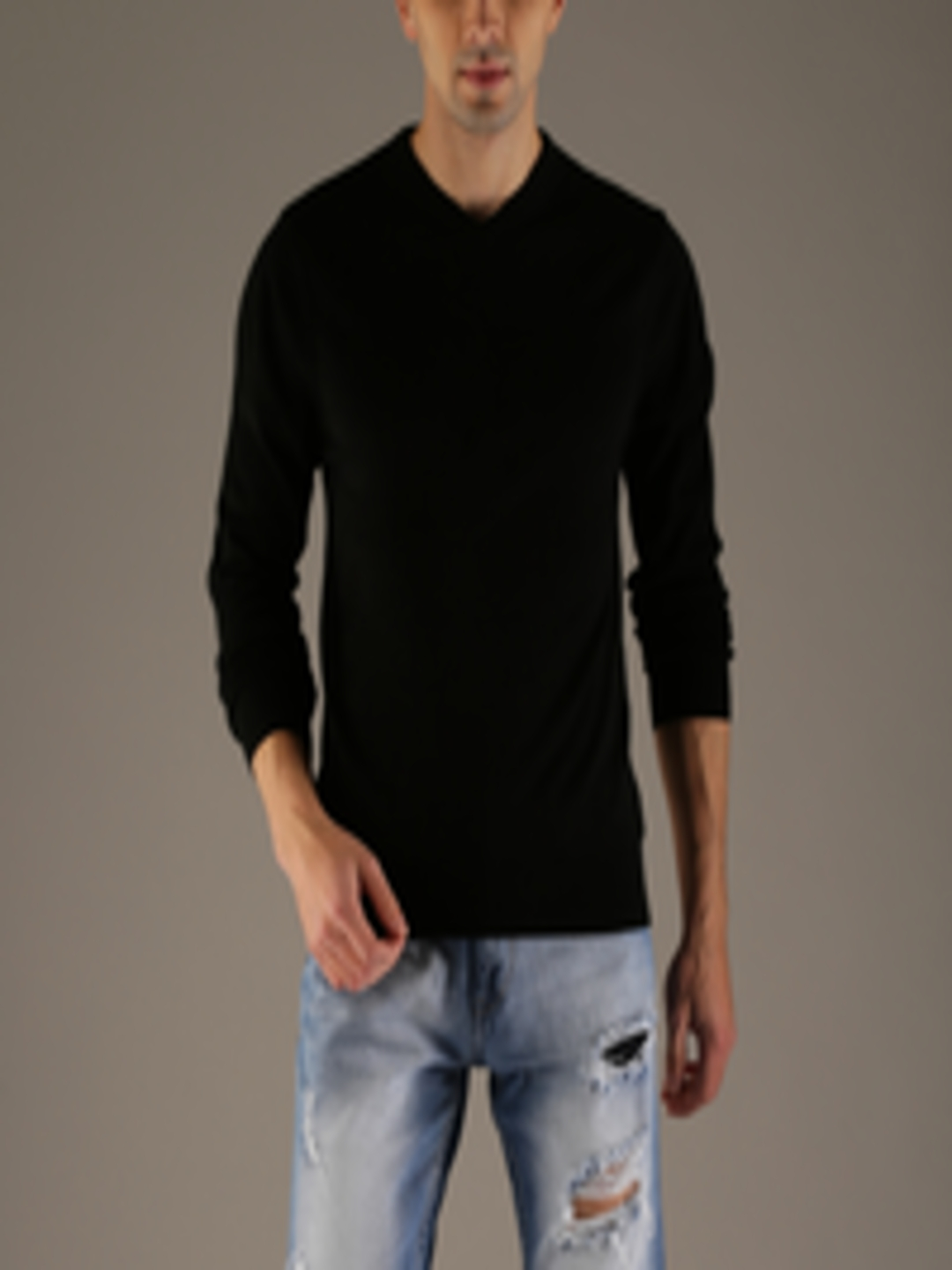 Men Black Solid Pullover by Flying Machine