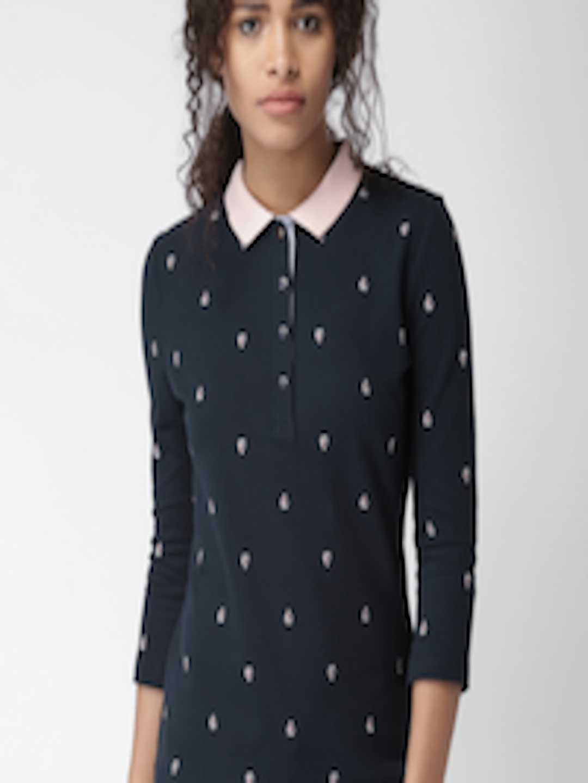 Buy Tommy Hilfiger Women Navy Self Design Polo Collar T ...