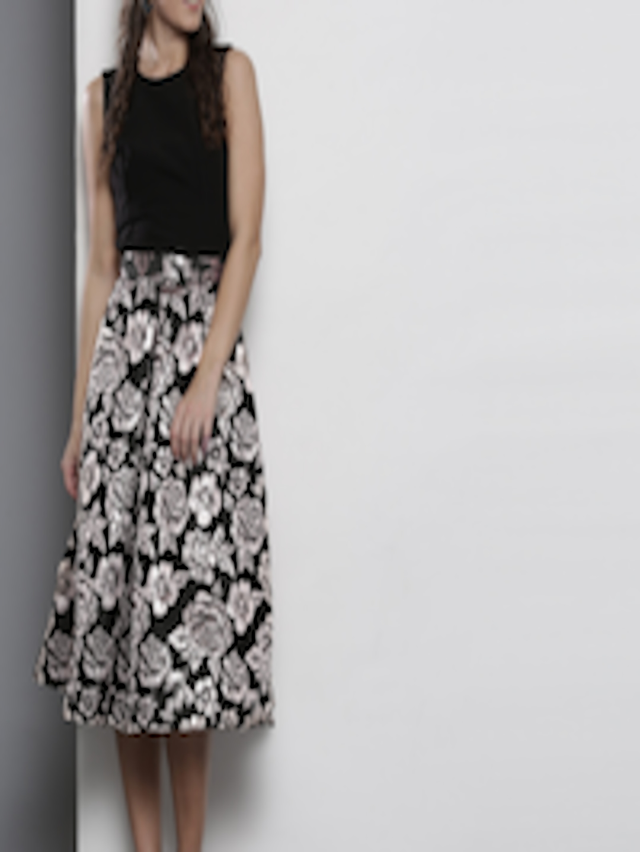 8c2462375970 Dorothy Perkins Black Floral Print Midi Skater Dress – DACC