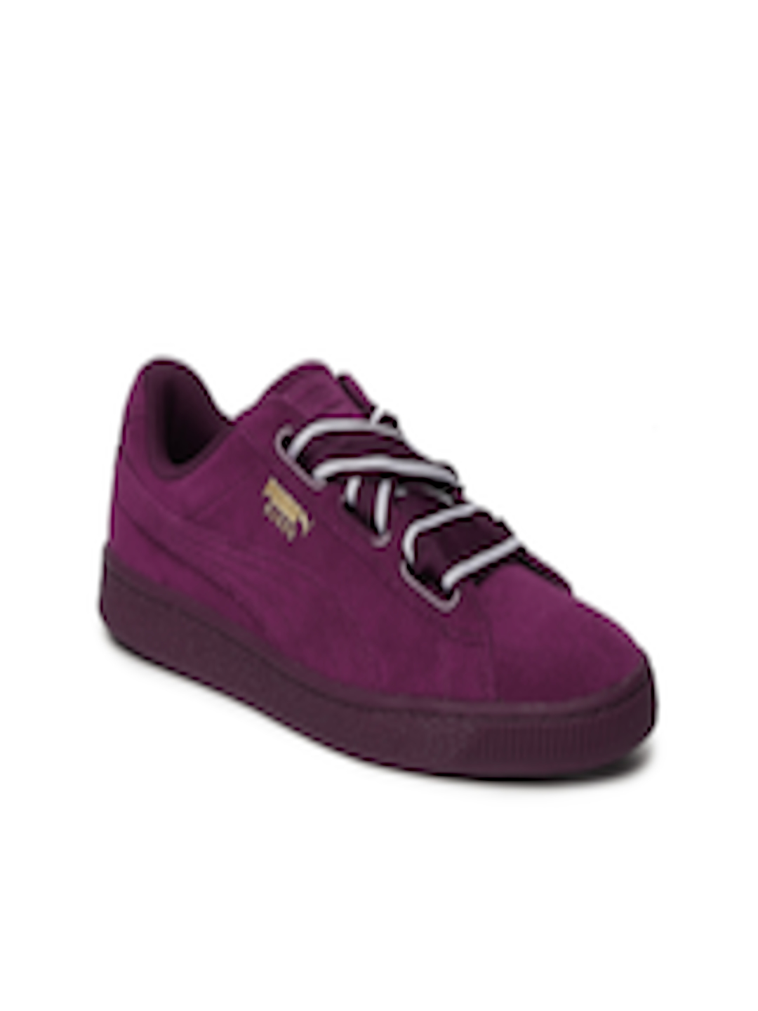 new arrival acea4 516aa Buy Puma Women Purple Suede Heart Satin II Sneakers - - Footwear for Women