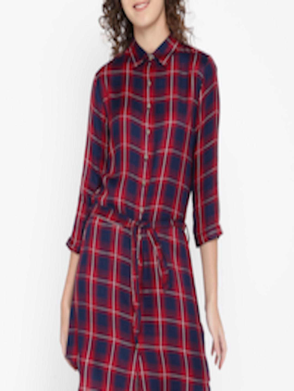 0efa1c77f88 Red And Blue Plaid Shirt Dress