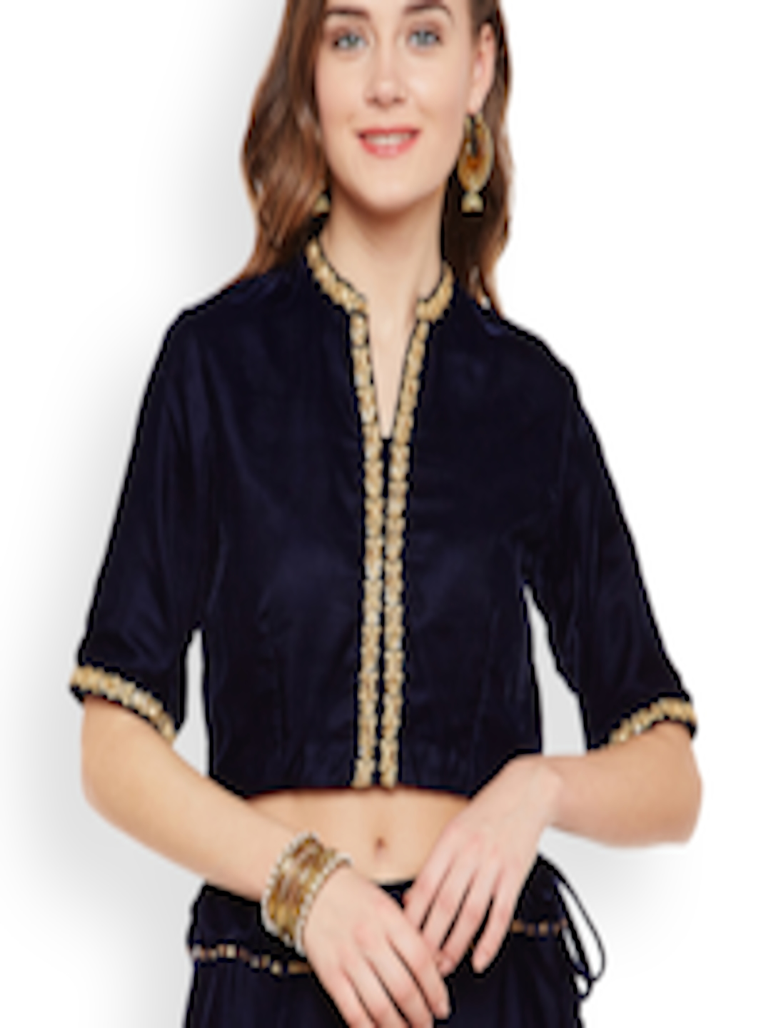 493ed0d09ed Buy Studio Rasa Women Navy Blue Embellished Velvet Crop Top - Tops for Women  2264301 | Myntra