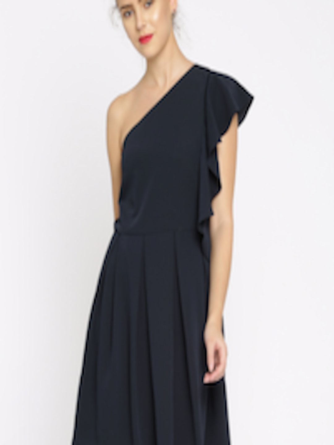 Buy RARE Women Navy Blue Solid Fit & Flare One Shoulder ...
