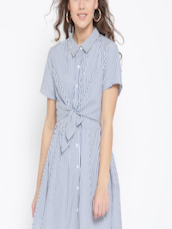 d0155f0a40dd Buy FOREVER 21 Women Navy   White Striped Shirt Dress - Dresses for Women  2287249