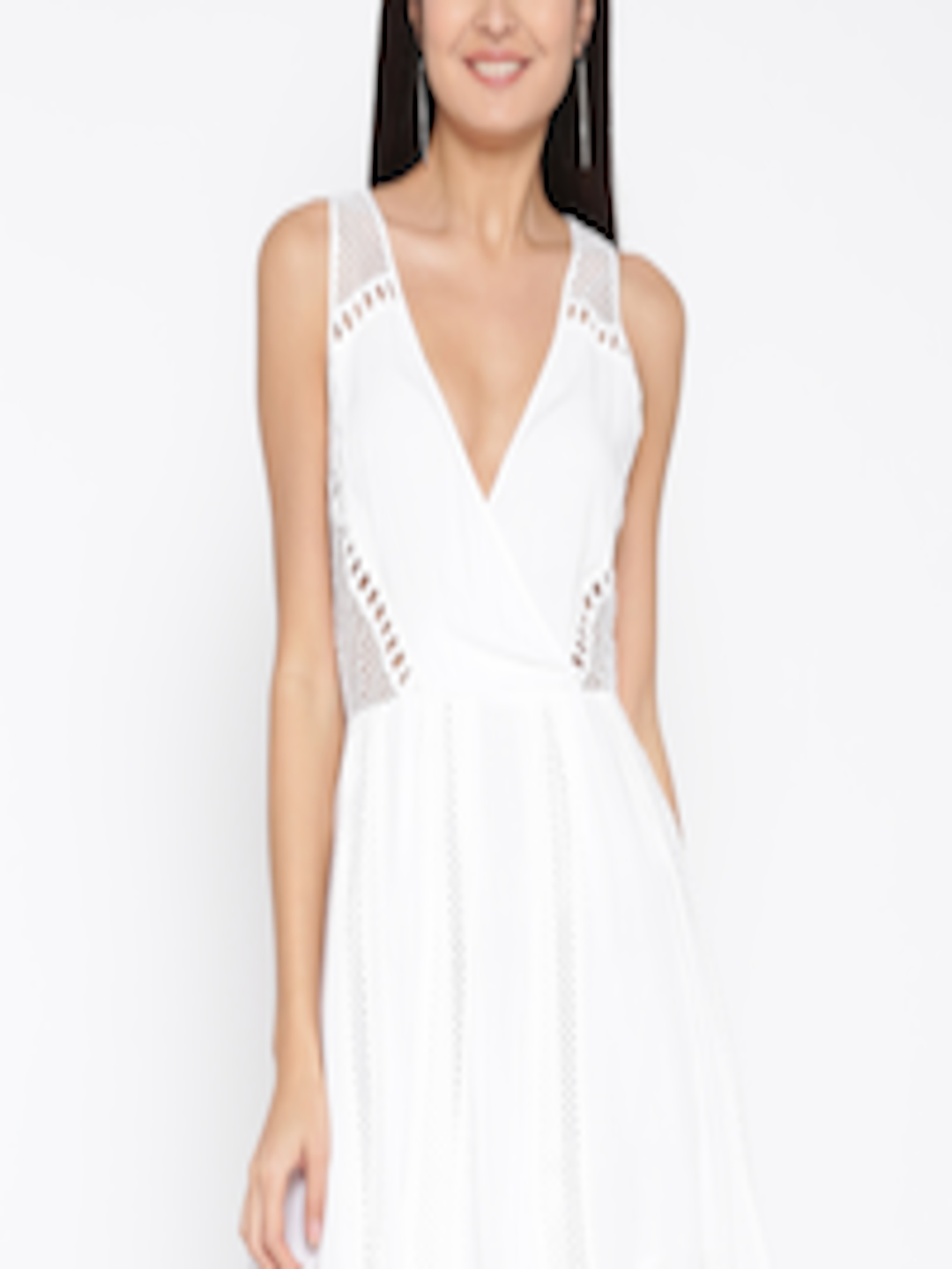 Buy Forever 21 Women White Solid Fit Amp Flare Dress