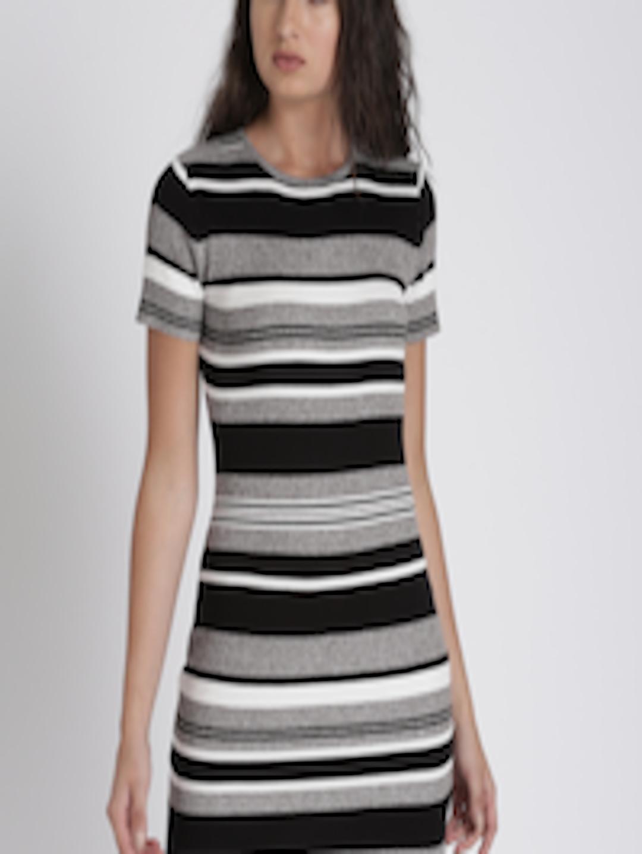 78dbfba62383 Buy Splash Women Grey Melange & Black Striped Bodycon Dress - Dresses for  Women 2304000 | Myntra