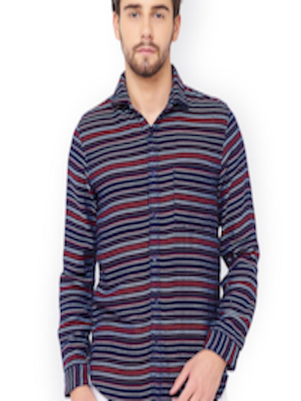 2fc5219d0 Buy I Voc Men's Navy Blue Striped Casual Shirt - Shirts for Men 2321508 |  Myntra