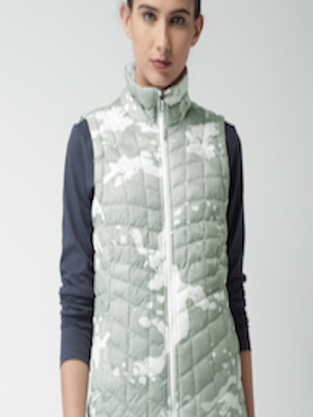 bff989e231 Buy The North Face Grey   White Printed W THERMOBALL VEST AP Quilted Jacket  - Jackets for Women 2334238