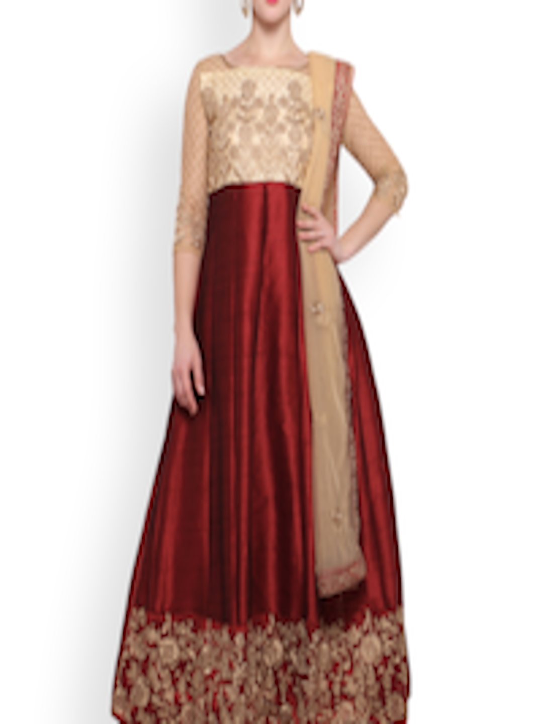 1970409843bf1 Styles Closet Maroon & Cream-Coloured Silk Blend Semi-Stitched Dress  Material