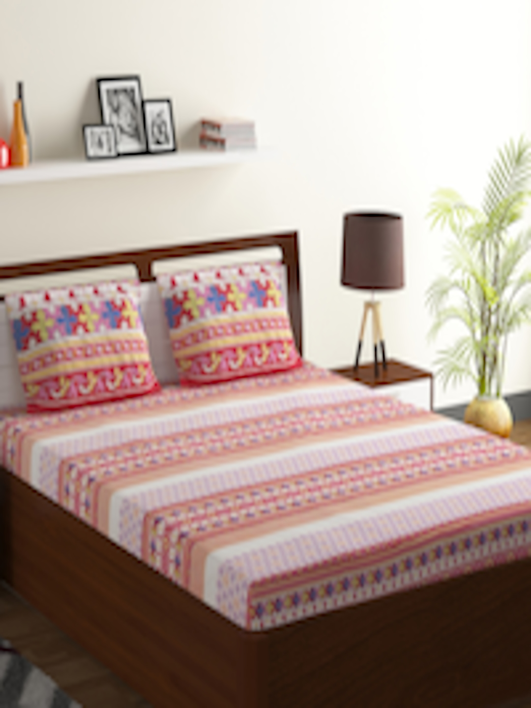 Buy Bombay Dyeing Red Abstract Flat 130 Tc Polycotton 1