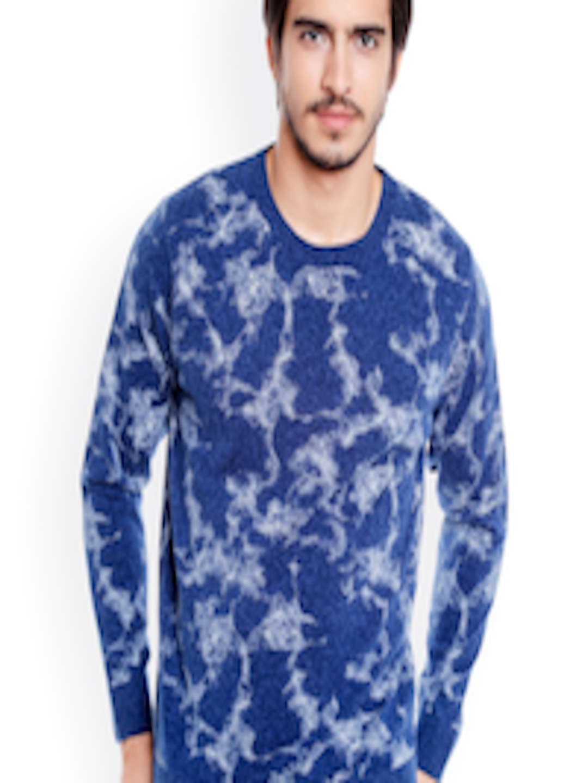 7509c5408a2 Buy Globus Men Blue Printed Pullover - Sweaters for Men 2357460
