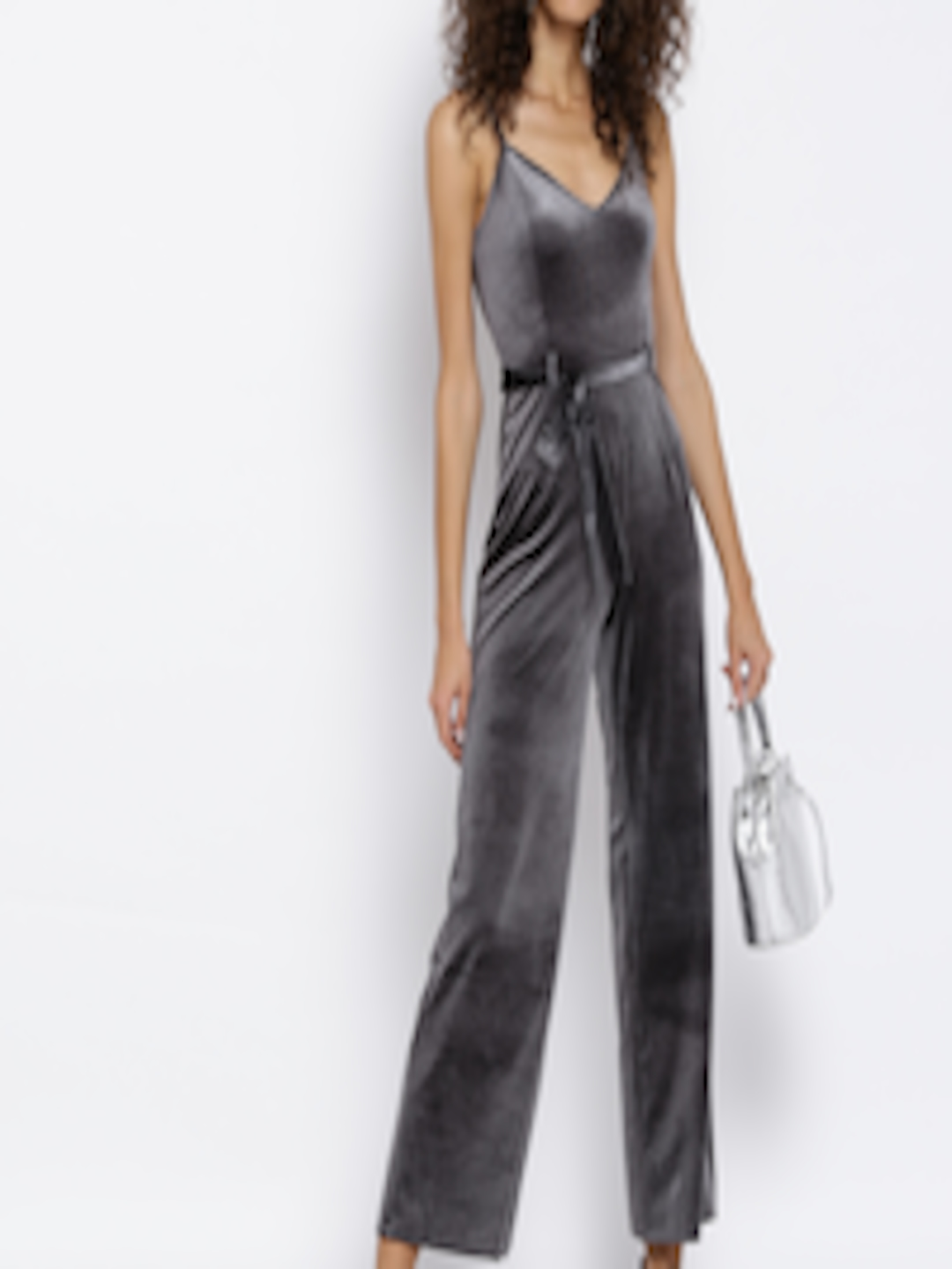 4a8ea8481148 Buy FOREVER 21 Grey Velvet Finish Jumpsuit - Jumpsuit for Women ...