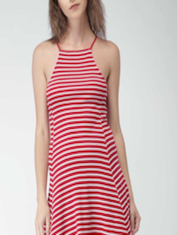 Buy FOREVER 21 Women Red   White Striped Skater Dress - Dresses for Women  2363321  d3ff8b520c