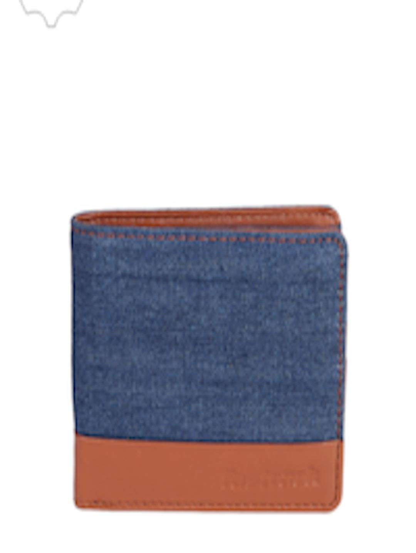 Buy Fastrack Men Blue & Tan Colourblocked Two Fold Wallet ...