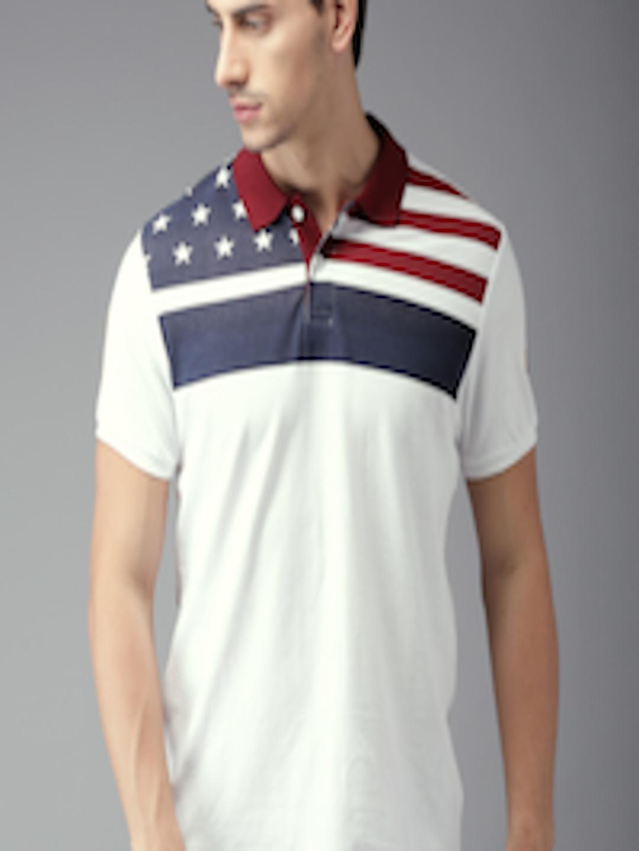 Buy Moda Rapido Men White Striped Polo Collar T Shirt ...