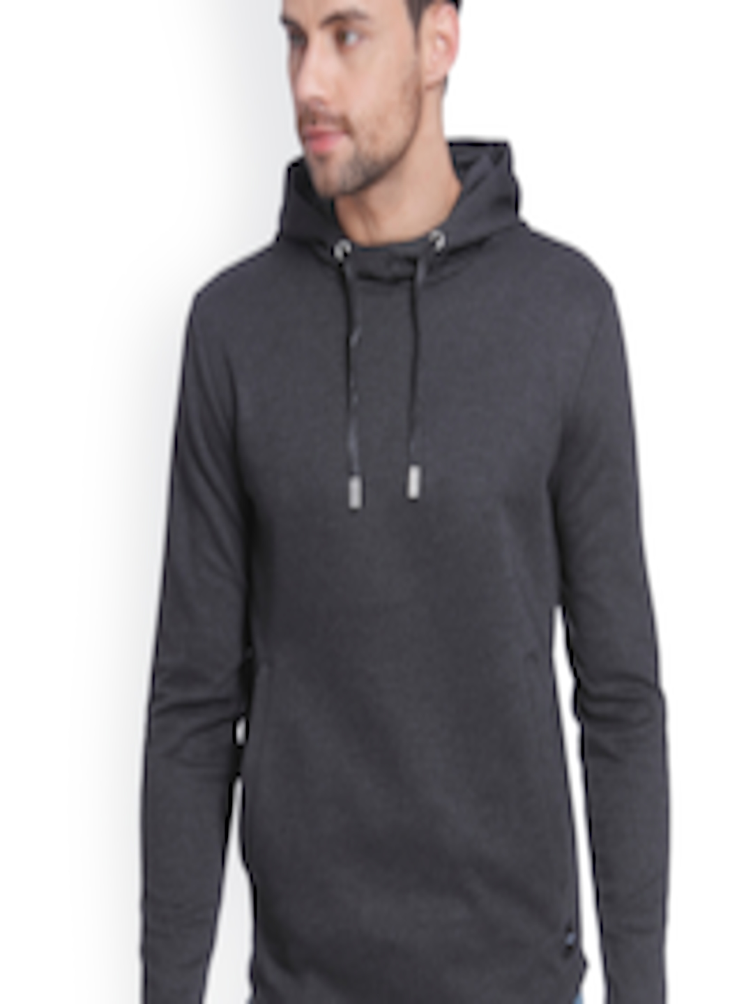 Men Charcoal Solid Hooded Sweatshirt by Only & Sons