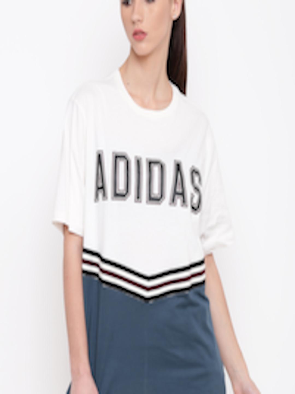 afa3302ec6e Buy ADIDAS Originals White & Teal Blue ADIBREAK SS Printed Colourblocked T  Shirt - Tshirts for Women 2394380 | Myntra
