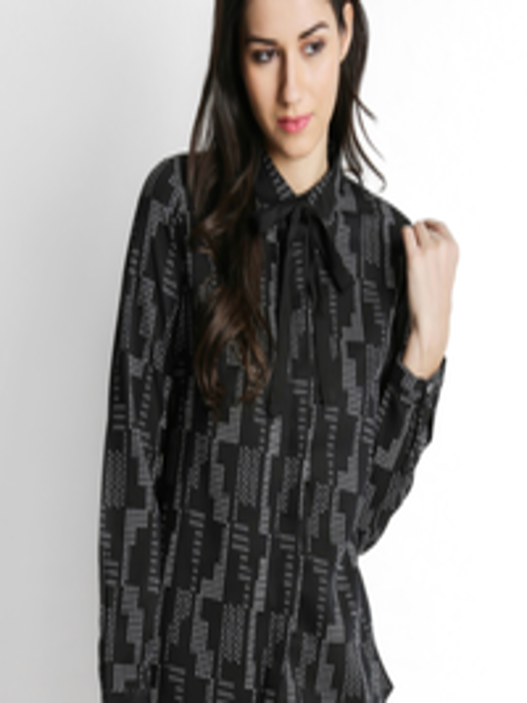 0b8315f906fa8 Buy Annabelle By Pantaloons Women Black Classic Regular Fit Printed Casual  Shirt - Shirts for Women 2400939 | Myntra