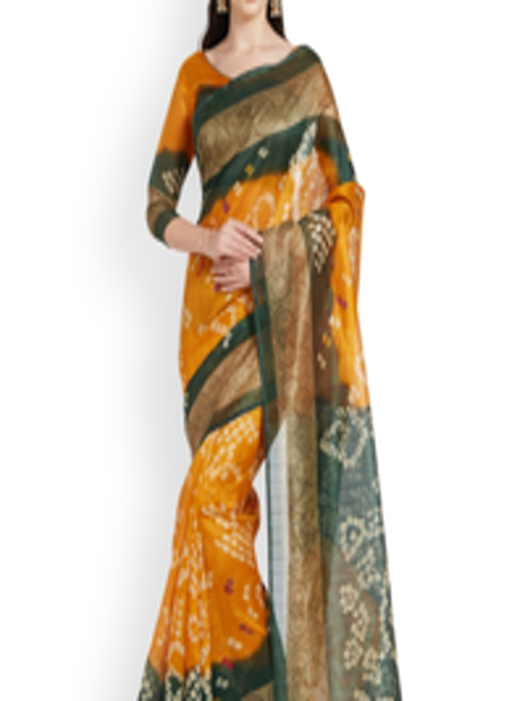 buy silk bazar green yellow poly silk printed saree. Black Bedroom Furniture Sets. Home Design Ideas