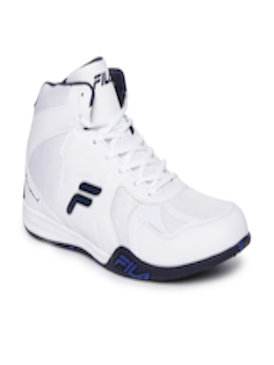 Buy FILA Men White Solid Mesh Mid Top Dynamo Sneakers Footwear for Men