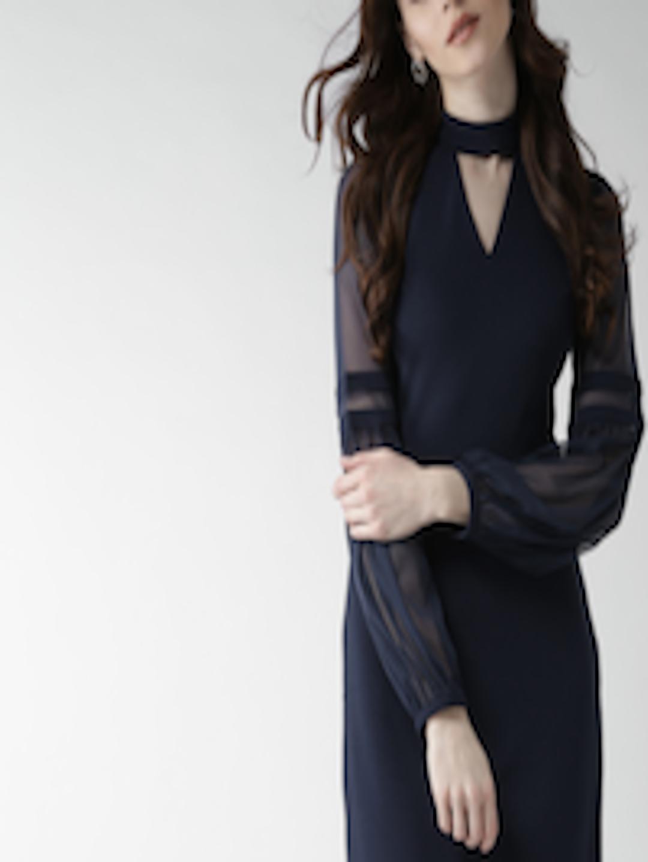 f759197acaa Buy 20Dresses Women Navy Blue Solid Choker Detail Sheath Dress ...