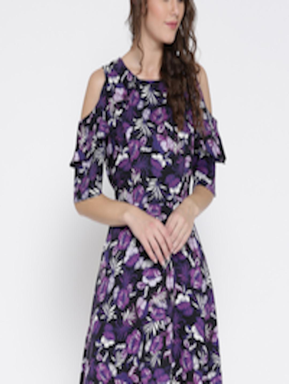 08770dd2c40 Buy Sera Women Black   Purple Floral Print Cold Shoulder Fit   Flare Dress  - Dresses for Women 2437233