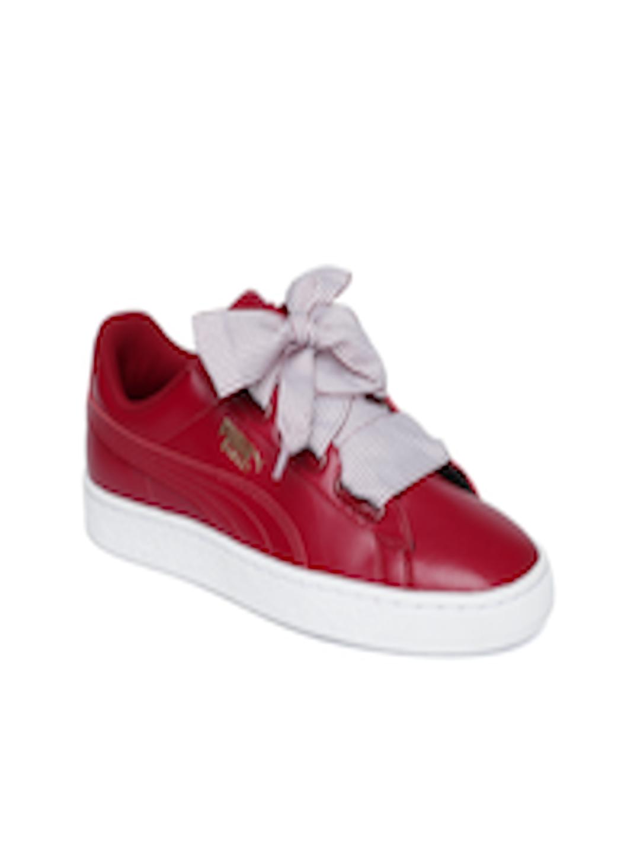 b88bcc960744 Buy Puma Women Red Basket Heart Sneakers - Casual Shoes for Women 2454492    Myntra