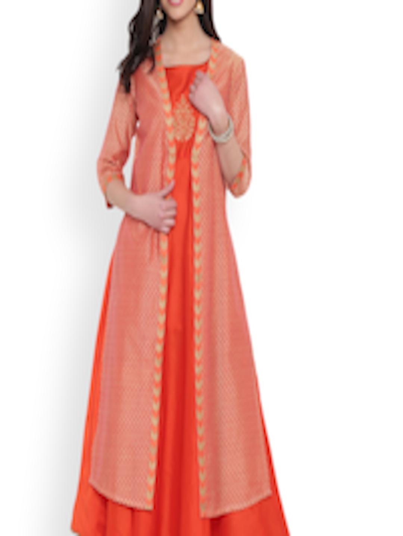 e68cef059 Buy Studio Rasa Women Orange Printed Straight Kurta - Kurtas for ...