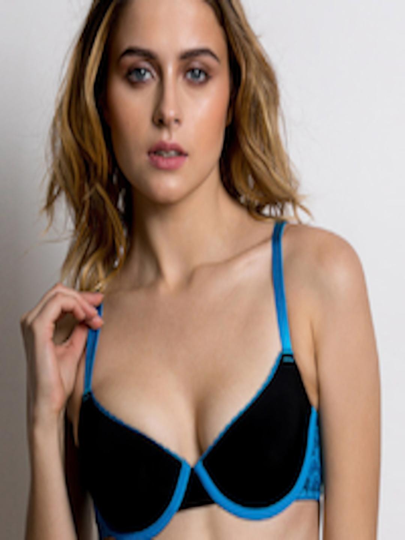2289676f056 Buy Zivame Black   Blue Solid Underwired Lightly Padded T Shirt Bra - Bra  for Women 2462646