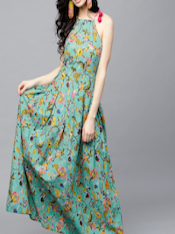 373536f69a Buy AKS Women Sea Green   Yellow Printed Maxi Dress - Dresses for Women  2463667