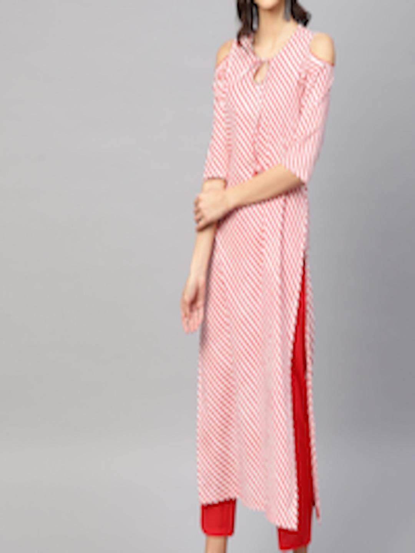 408b1200c63f Buy Nayo Women Red Striped Kurta With Palazzos - Kurta Sets for ...