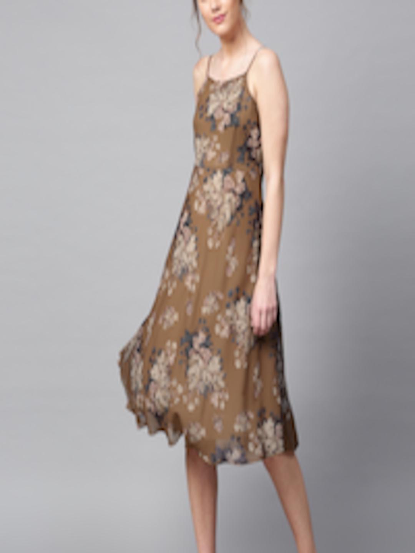 Buy Sassafras Women Brown Floral Print Midi Fit Amp Flare