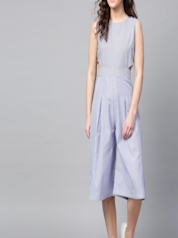 e2e2c8c6b318 Buy SASSAFRAS Blue   White Striped Culotte Jumpsuit - Jumpsuit for Women  2472444