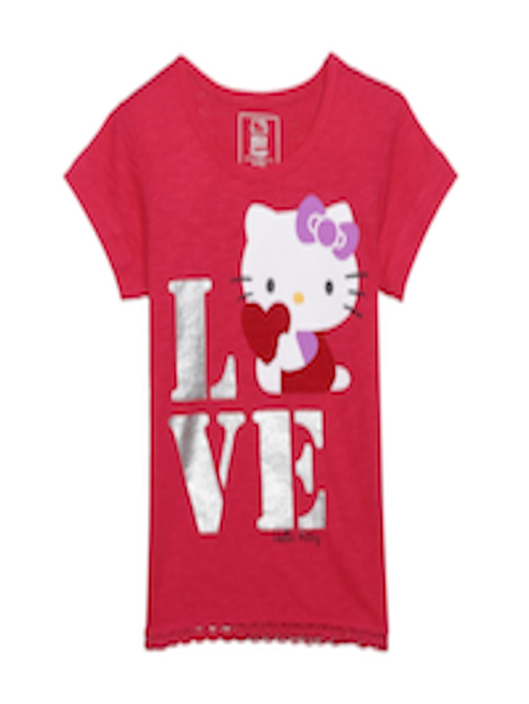 3e7c05ff1 Buy Hello Kitty Girls Pink Printed Round Neck T Shirt - Tshirts for Girls  2509932   Myntra